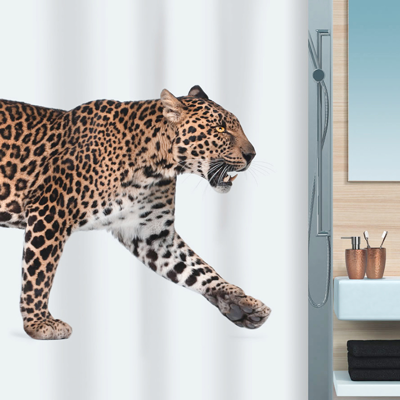 Swiss brand spirella wild leopard cheetah pattern thick waterproof polyester fabric shower curtain bathroom shipping