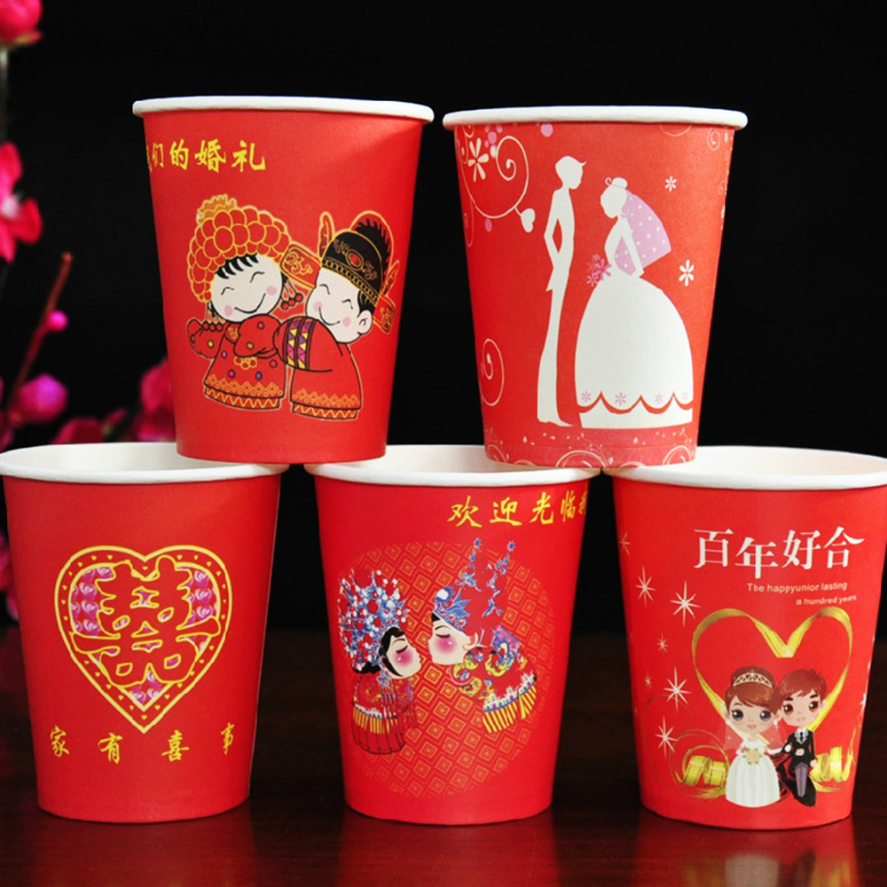 Swiss duo love marriage wedding wedding wedding disposable cups cups thick red cups cups festive supplies