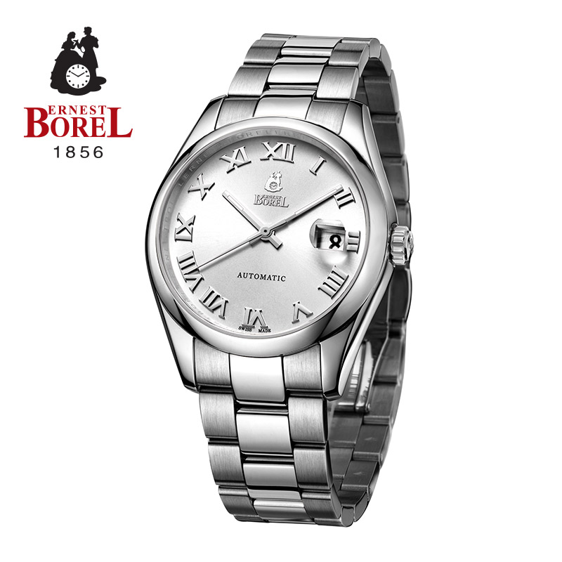 Switzerland borel forthright series stainless steel strap male table calendar automatic mechanical watches men imported genuine