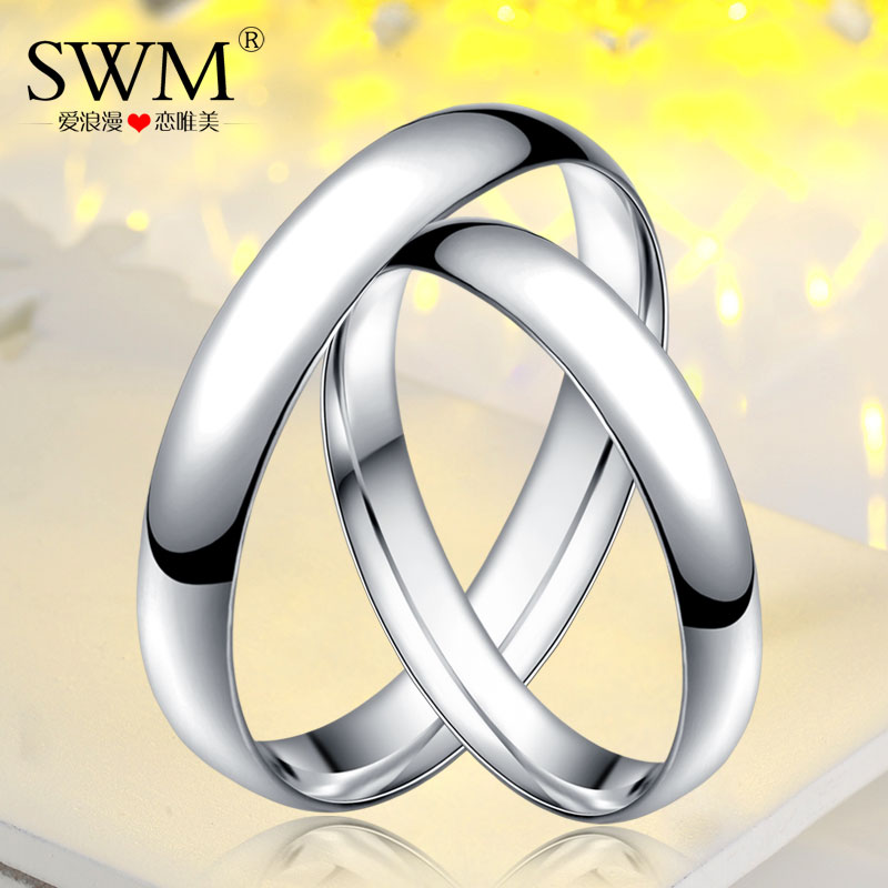 Swm silver 999 sterling silver couple rings glossy couple rings for men and women students simple personality tail ring may lettering