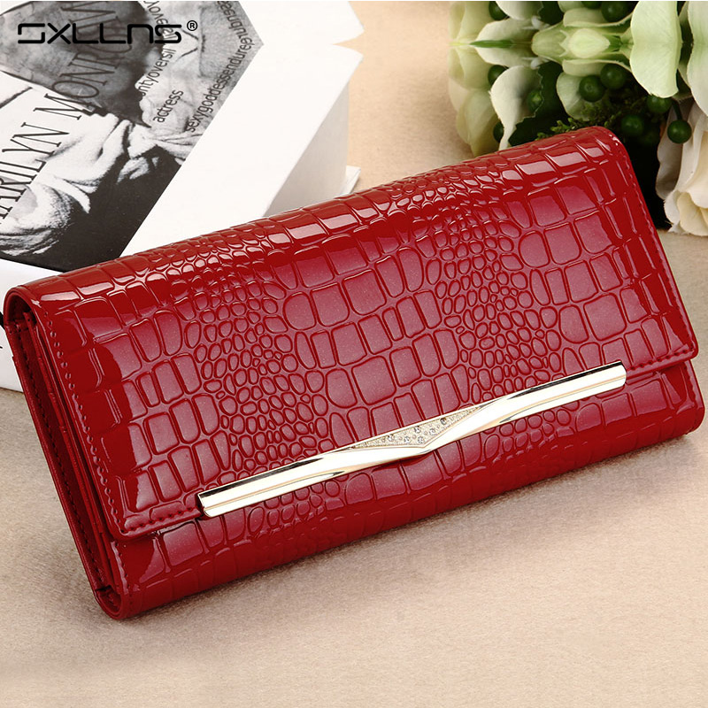 Sxllns leather zipper wallet ms. wallet long section of female wallet long section of korean fashion clutch bag card package