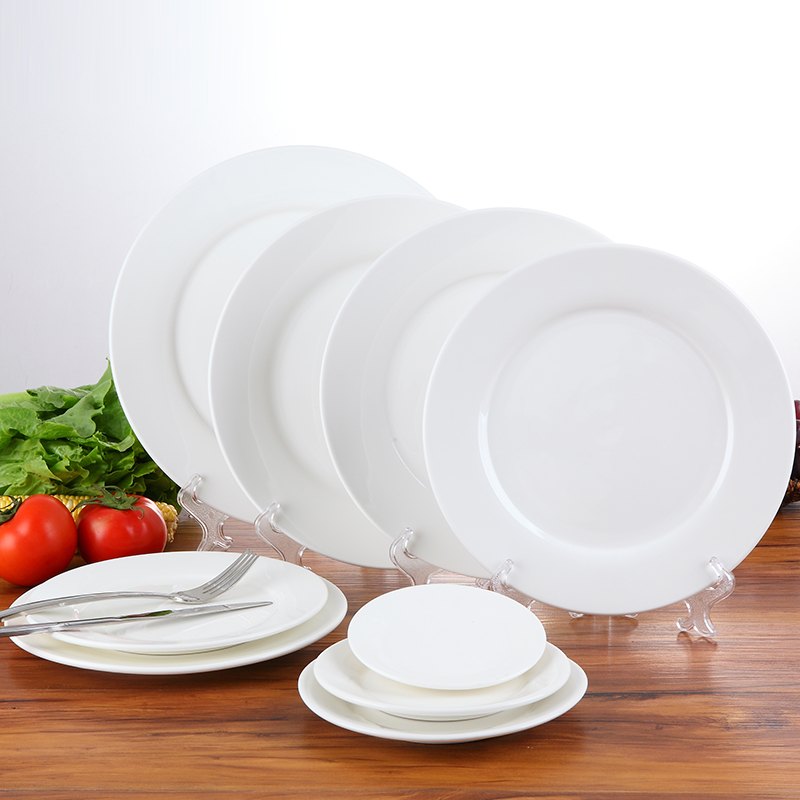 Table 5/6/7/8/9/10/11/12 inch white ceramic flat plate western steak dish dish dish dish dish fruit