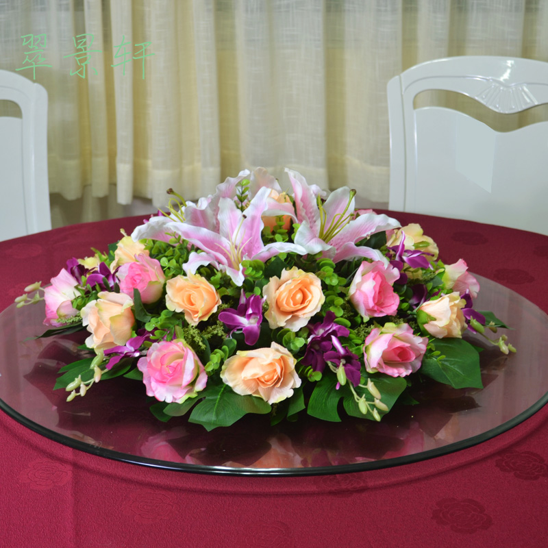 Table Flowers Artificial Flowers Roses Decorated Suite Hotel Dining Table  Round Table Conference Table Flowers Mixed