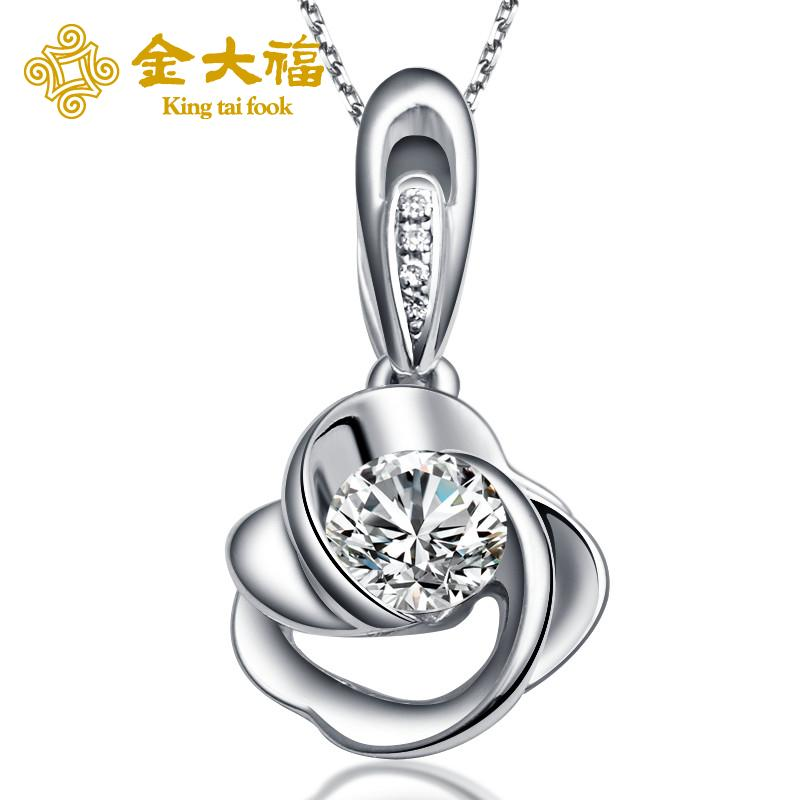 Tai fook jewelry gold k white gold diamond pendant necklace fashion wild female models clavicle chain sweater chain g