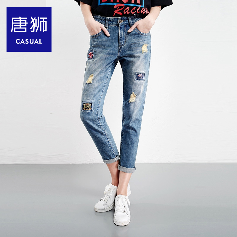 Tang lions ladies 2016 spring new ladies trousers labeling hole washed denim trousers straight loose in the waist water