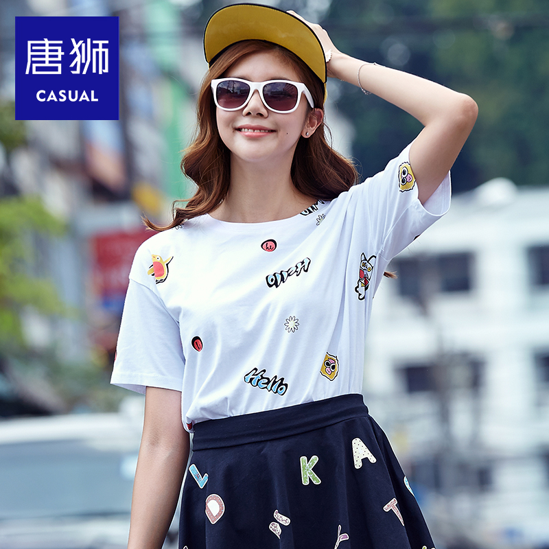 Tang lions ladies 2016 summer new lady full of cartoon printed loose short sleeve t-shirt influx of students casual cute