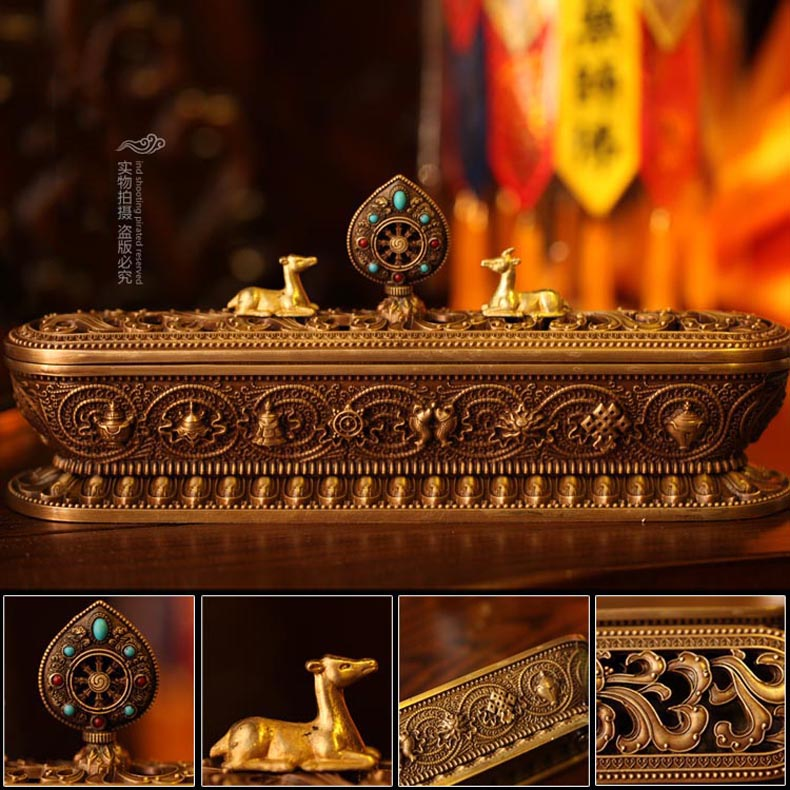Tantric buddhist incense supplies appliances incense censer lying incense censer eight auspicious mantra copper incense burner (non alloy)