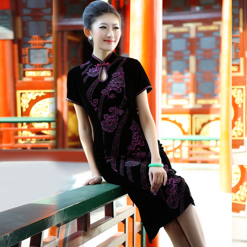 Tao yumei silk velvet cheongsam cheongsam dress long section of the slim embroidered upscale silk cheongsam D31Q536