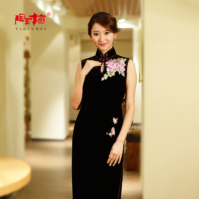 Tao yumei silk velvet embroidered cheongsam cheongsam cheongsam dress long section of the mother party dress H11Q115