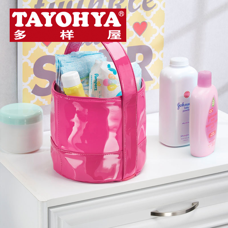 Tayohya diverse housing genuine remy binaural cylinder portable storage bag pu leather beauty makeup storage box