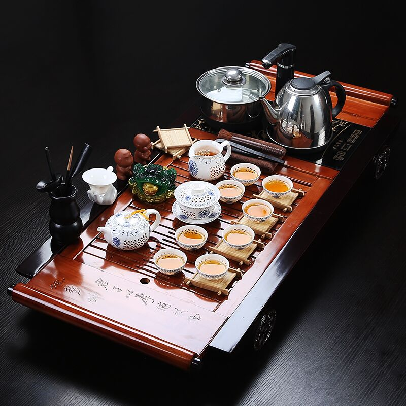 Tea set package four wood tea tray cooker purple kung fu tea cup teapot