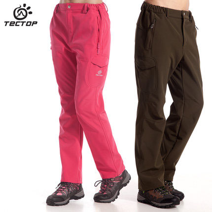 Tectop trousers soft shell winter male and female models thick warm fleece shark piga waterproof windproof loose version