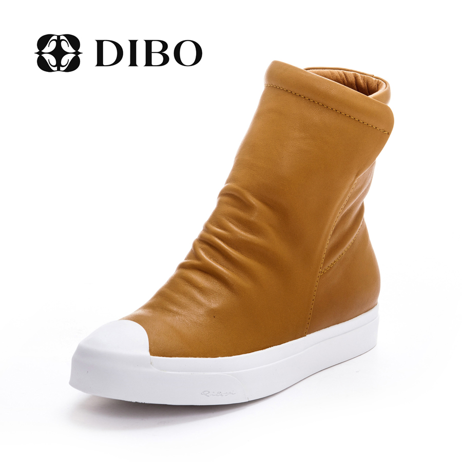 Tellurium platinum dibo2015 new european and american fashion shoes leather flat bottomed shoes high shoes casual shoes side pull chain