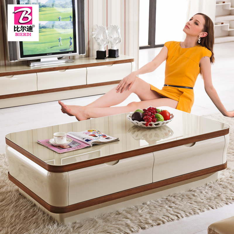 Tempered glass coffee table minimalist modern rounded tea a couple of creative fashion paint small apartment tv cabinet tv cabinet combination packages