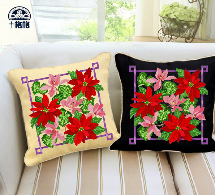 Ten princess precise printing dmc cross stitch kit new flower pillow cushions christmas red maple leaf
