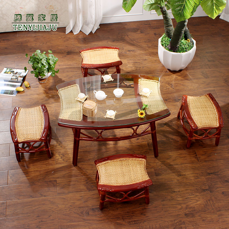 Tengyi rattan chairs small stool rattan wicker chair wujiantao natural rattan chairs rattan chairs coffee table three sets of true vine Chair