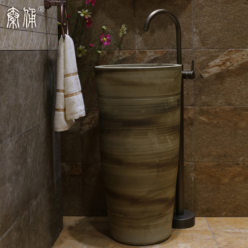 Terracotta warrior pedestal washbasin integrated ceramic pedestal basin pedestal basin art basin bathroom basin combination