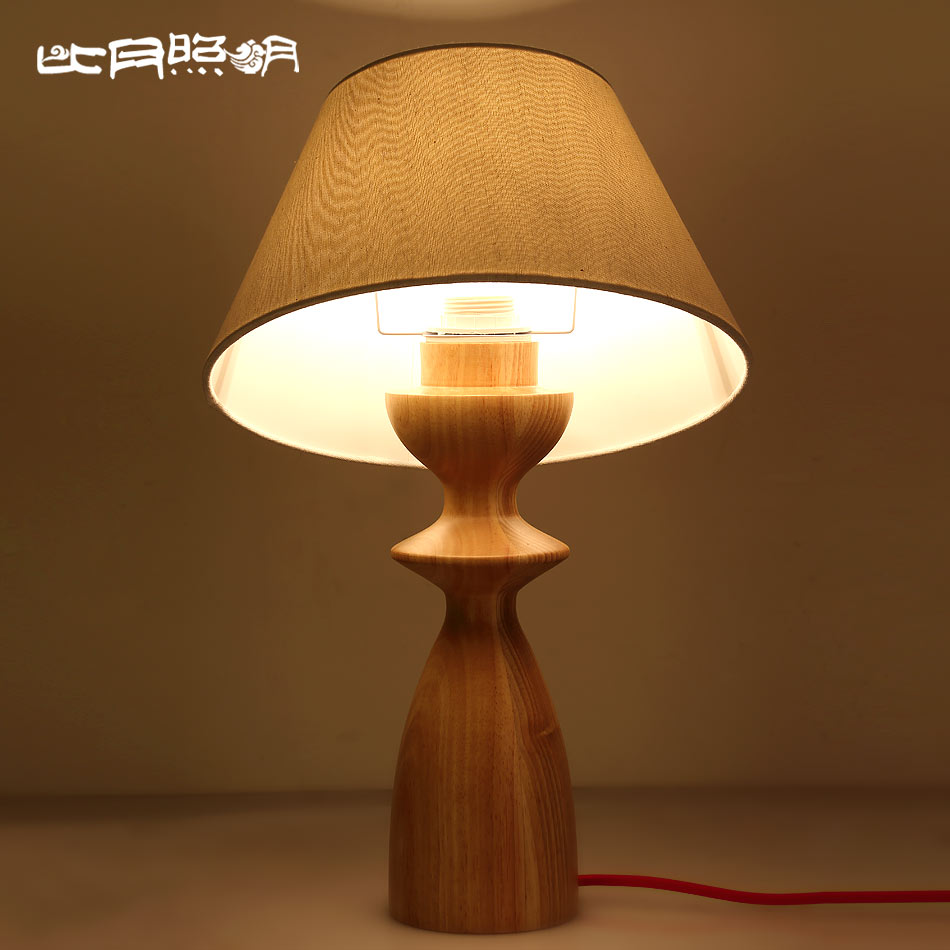 Than the month of simple solid wood table lamp bedroom lamp bedside lamp decorative table lamp creative fashion ikea modern cozy 3719