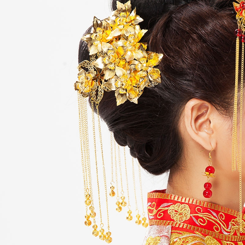 The bride chinese wedding costume headdress headdress xiu dragon gown haberdashery accessories side of the hair accessories kit