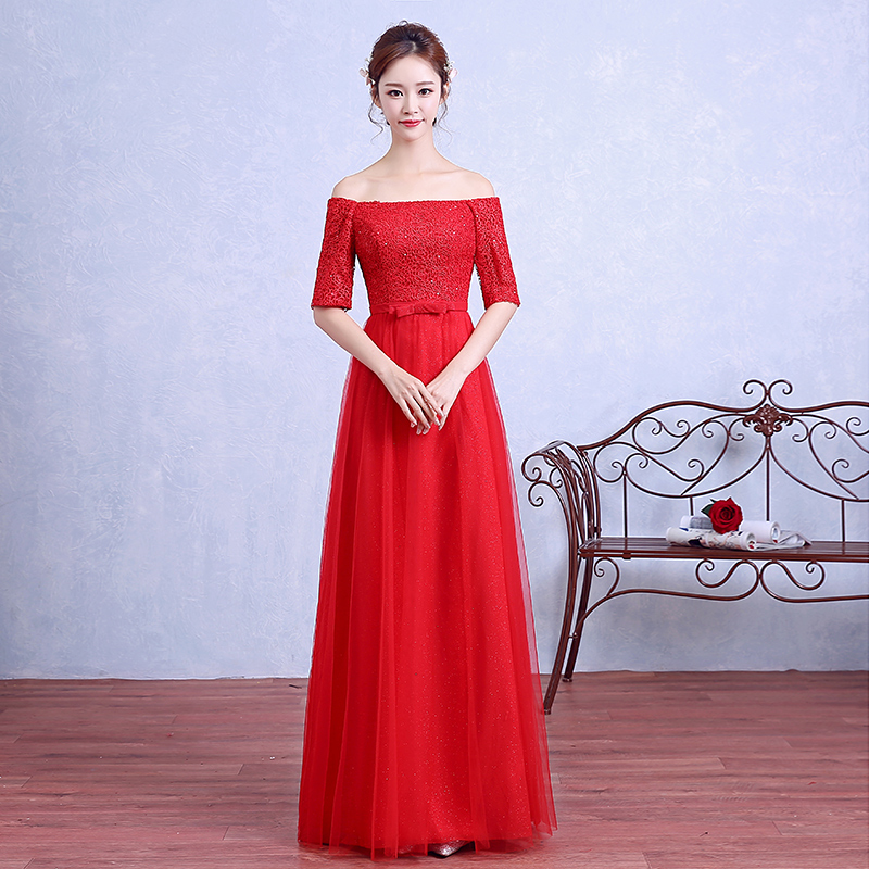 The bride toast clothing autumn and winter 2016 new red dress engagement dress word shoulder sleeve long section of female fashion slim