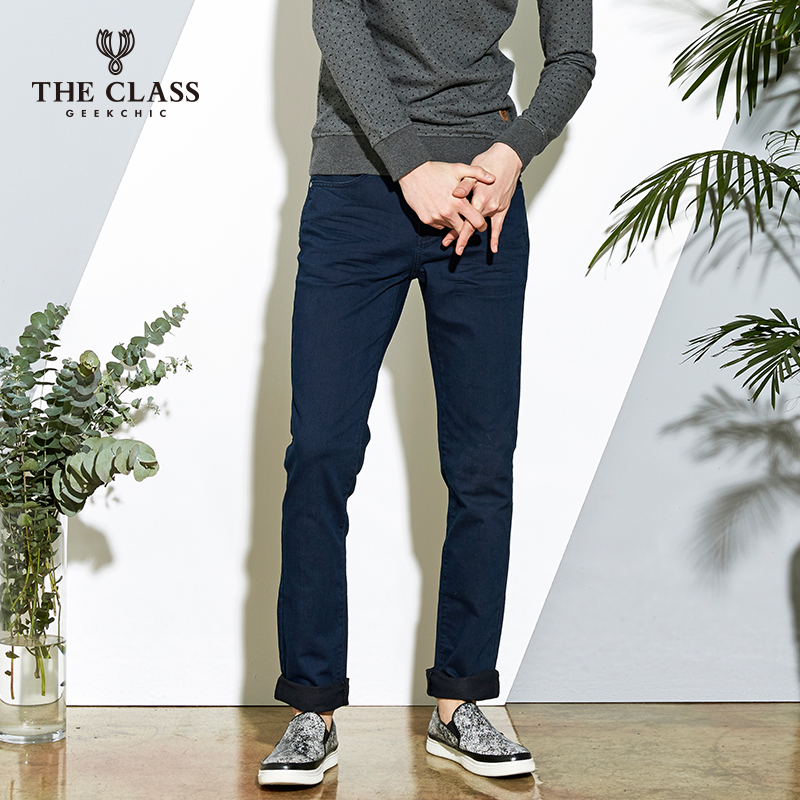 The class hundred good spring and autumn fashion casual men's trousers slim straight jeans male CODP210C