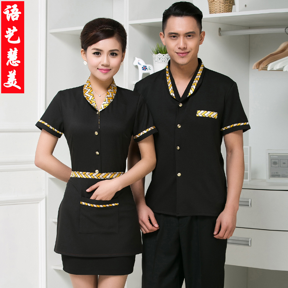 The hotel restaurant waiter overalls summer clothes for men and women work clothes short sleeve summer uniforms hotel uniforms hotel uniforms