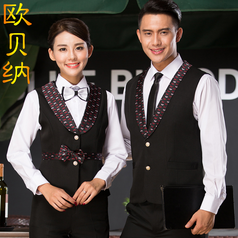 The hotel restaurant waiter overalls vest vest vest for men and women ktv bar reception restaurant waiter black vest
