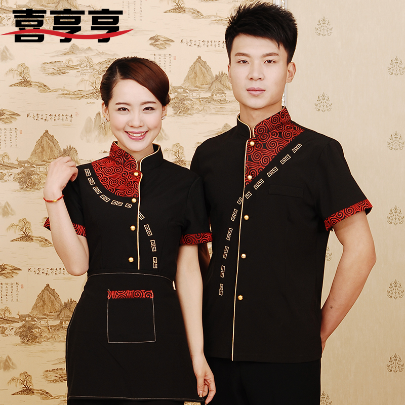 The hotel waiter overalls overalls summer clothes for men and women fast food restaurant uniforms hotel uniforms short sleeve men and women