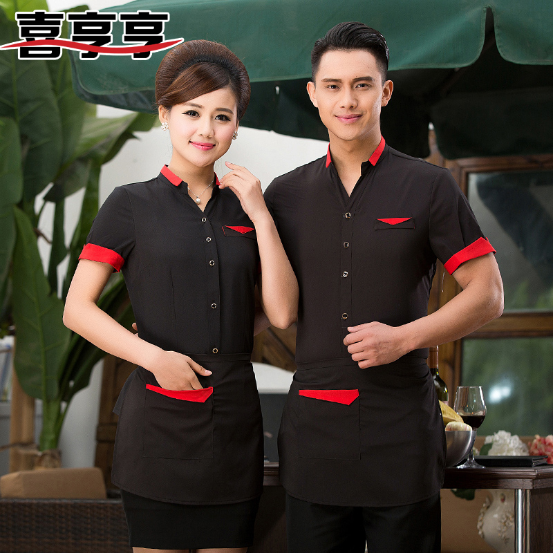 The hotel waiter overalls summer short sleeve blouse shirt female western hotel restaurant hot pot shop overalls sleeve men