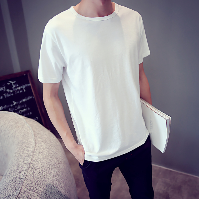 The influx of people influx of goods summer new japanese wild cotton korean men round neck short sleeve t-shirt blank solid color multicolor