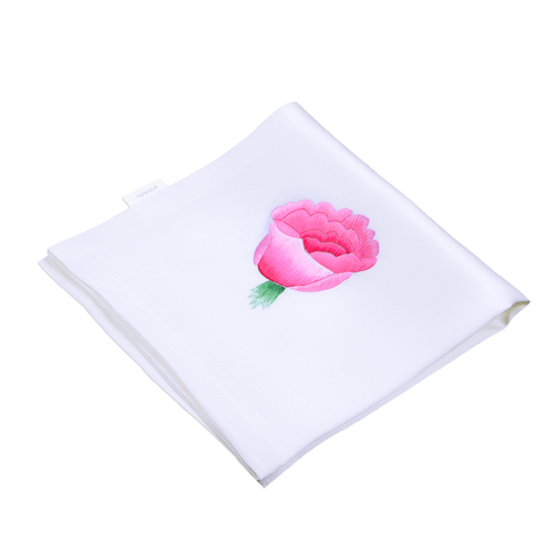 The name of the ancient art of white handmade embroidery finished embroidery silk handkerchief double roses gift
