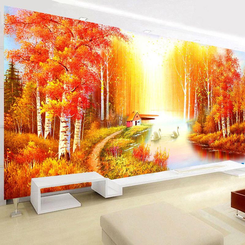 [] The new 5d diamond painting the living room full of diamond round diamond point diamond paste diamond stitch octagon to wealth substantial diamond embroidery