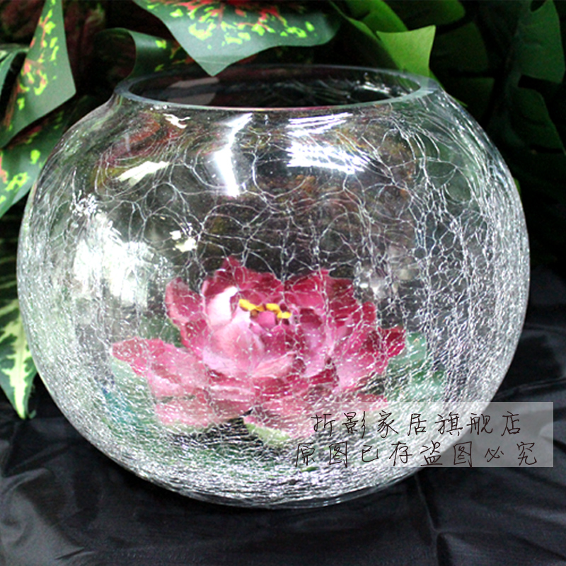 The new aquarium fish tank glass vase ice glass vase hydroponic goldfish bowl/transparent ice cracks large flower