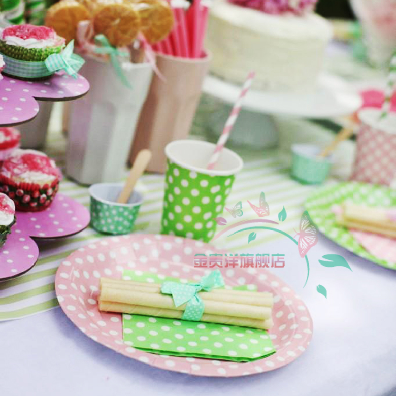 The new arrangement christmas decoration color polka dot disposable tray cups section birthday party supplies