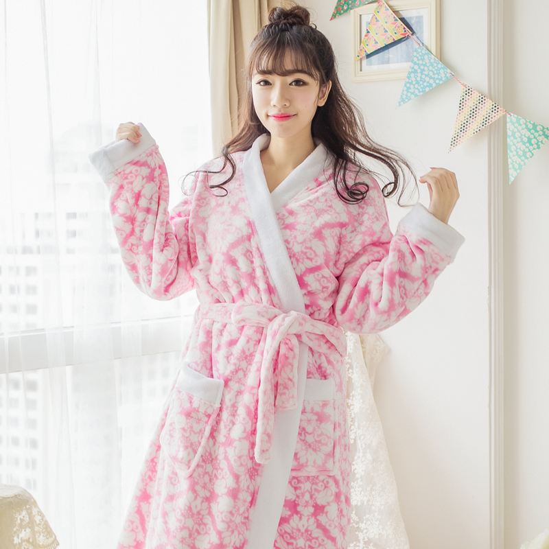 8d684ea8f1 Get Quotations · The new autumn and winter flannel nightgown lovely ms.  printed coral fleece bathrobe bathrobe pajamas