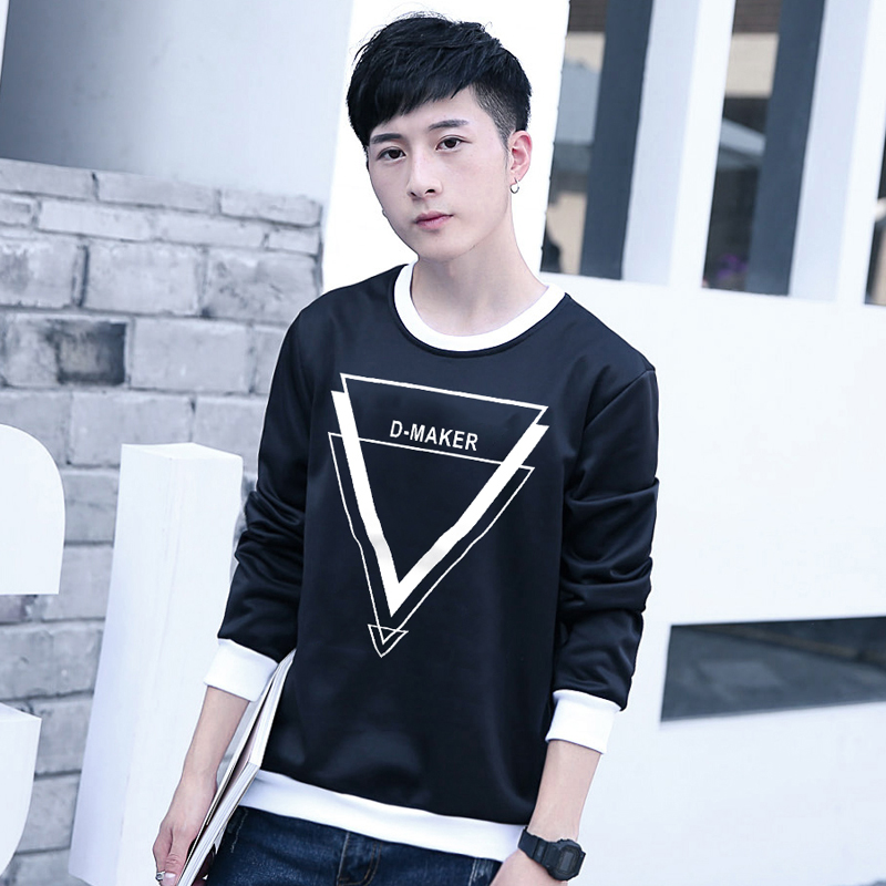 The new autumn and winter men's korean version of the retro hedging printed round neck sweater influx of young students sports baseball shirt
