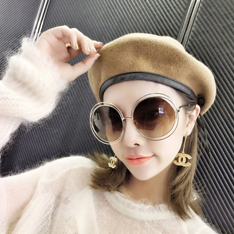 d624d10d20 Get Quotations · The new big box round sunglasses sunglasses female  personality red mesh with the money round sunglasses