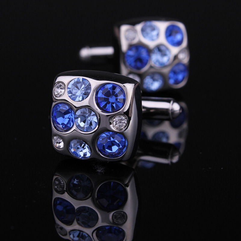 The new blue danube cufflinks crystal cufflinks cufflinks men's cufflinks french cuff shirt cufflinks blue cufflinks