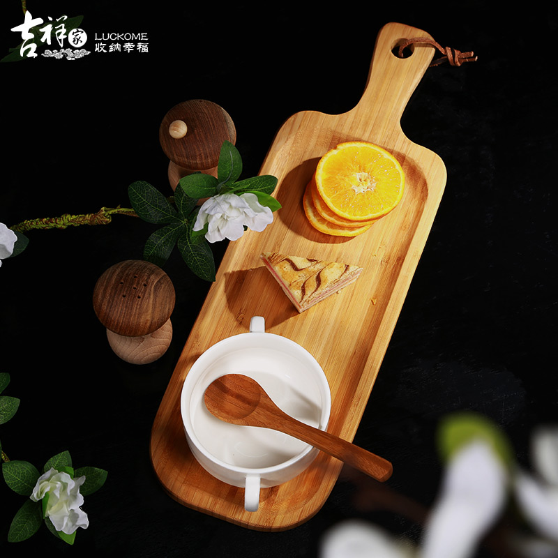 The new chinese auspicious wood tray [piano wire] breakfast pastry dish elongated wood tea tray kitchen supplies