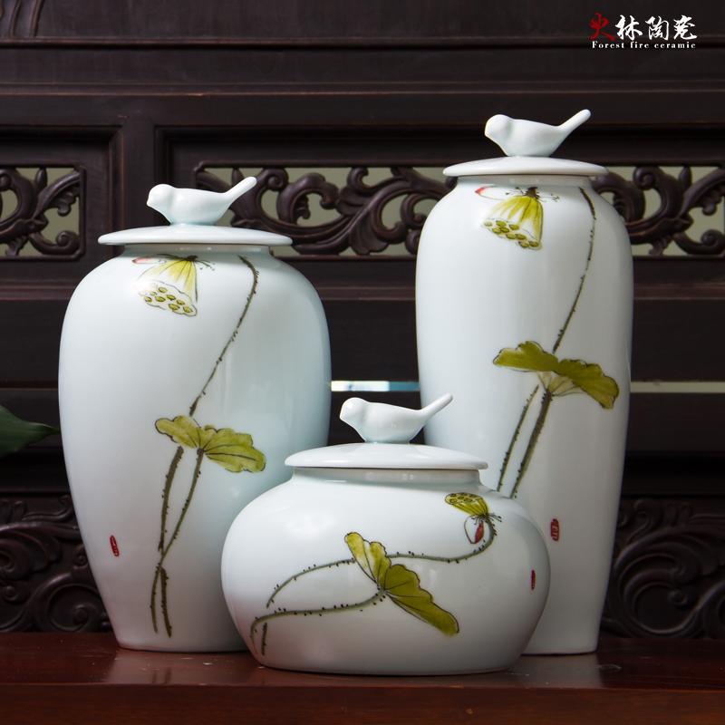 The new chinese modern pure hand painted ceramic vase ornaments three sets of sample room home entrance decorative porcelain ornaments