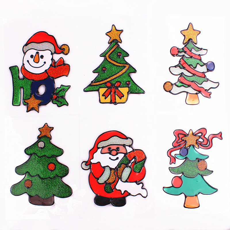 The new christmas wall stickers window stickers affixed to the glass door stickers stickers santa claus christmas tree shaped decorative stickers affixed to the mall