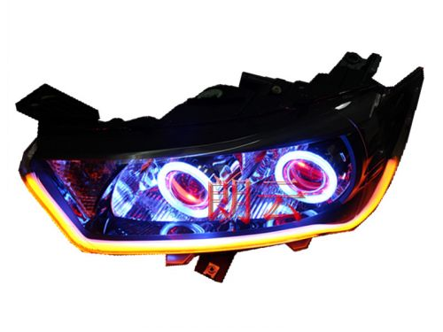 The new citroen sega front headlight assembly modified bifocal lens xenon lamp day make eye color tears assembly