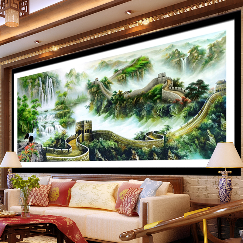 The new diamond draw the rubik's cube round diamond diamond stitch over drilling large living room landscape painting of the great wall landscape series