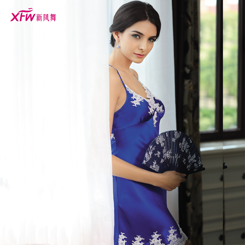 Get Quotations · The new fengwu upscale chinese style blue and white silk  pajamas sexy suspenders nightdress summer sexy 94e55e273