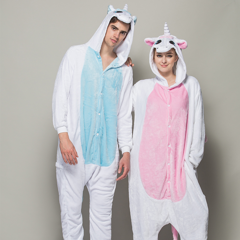 Get Quotations · The new flannel pink unicorn blue siamese long winter  pajamas cute cartoon couple tracksuit toilet edition a32614a8c