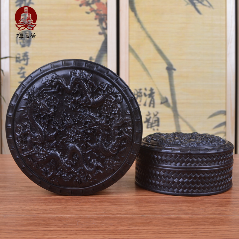The new indonesian ebony round dragons jewelry box cosmetic box storage box seal box mahogany wood crafts