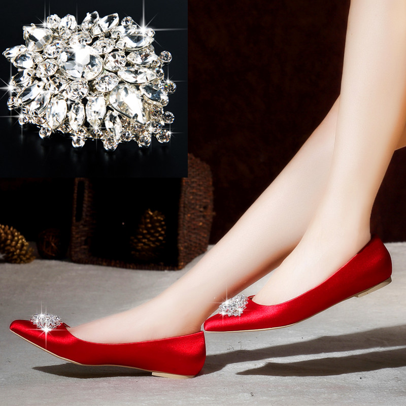 The new silk satin rhinestone square buckle flat shoes red shoes bridal shoes red wedding shoes women shoes flat with big yards pregnant women