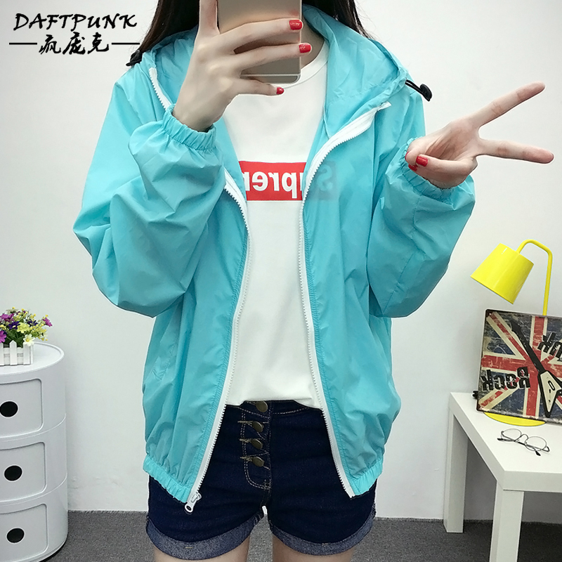The new uv thin section solid summer sun protection clothing long sleeve zip hooded garde female students early fall short coat