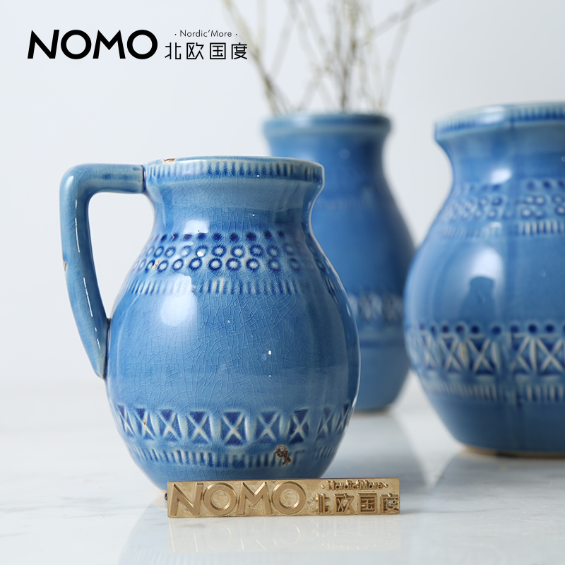 The nordic country rich blue shitai rusticity yin beauty american retro ceramic table vase ornaments