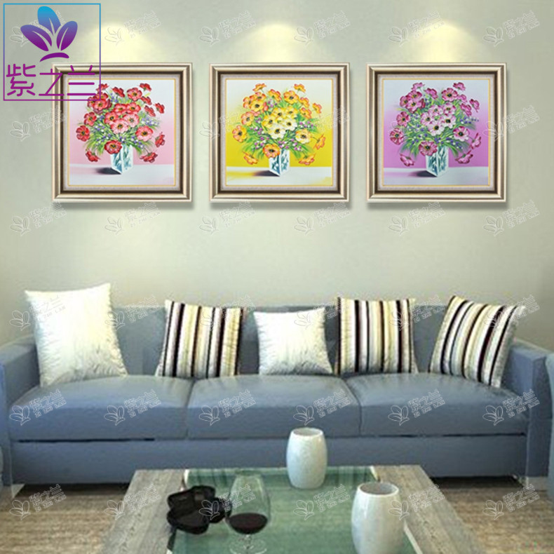 The purple orchid flower ben pure hand painted oil painting triptych european corridor entrance hallway living room decorative painting paintings